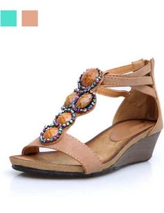 Mid Heel Diamante PU Wedge Sandals