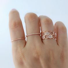 Twist Hexagon Ring- Sterling Silver Serendipity in Seoul Twist Hexagon Ring- Sterling Silver rose gold stackable delicate rings Gold Rings Jewelry, Gold Diamond Rings, Cute Jewelry, Diamond Wedding Bands, Sterling Silver Jewelry, Diamond Jewelry, Jewelry Accessories, Jewelry Design, 925 Silver
