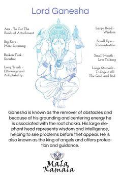 Who is Ganesha or Ganesh? Spiritual Yoga Symbols and What they Mean. Mala Kamala Mala Beads - Boho Malas, Mala Beads, Yoga Jewelry, Meditation Jewelry, M Lord Ganesha, Namaste Symbol, Om Symbol, Om Gam Ganapataye Namaha, Usui Reiki, Spiritual Symbols, Spiritual Health, Buddha Symbols, Sanskrit Symbols