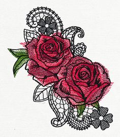 Ravishing Painted Roses - Thread List | Urban Threads: Unique and Awesome Embroidery Designs
