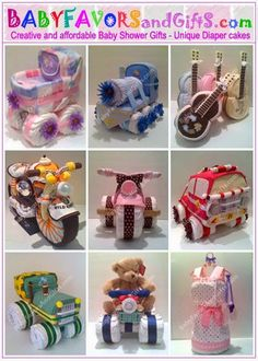 Unique Diaper Cakes, Baby shower gifts, centerpieces, table decorations, favors: October 2009