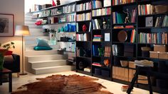 When it comes to hacking beautiful storage, no other IKEA product works a room like the BILLY bookcase. Here are 23 of the best BILLY Bookcase built-ins. Cozy Home Library, Home Library Design, Modern Library, Library Ideas, Library Wall, Library Shelves, Ikea Billi, Ikea Billy Bookcase Hack, Billy Bookcases