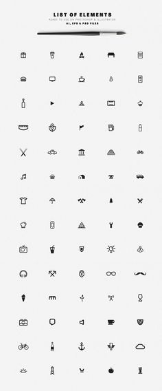 70 elements of diverse shapes and icons as Adobe Illusttrator, Photoshop, and EPS vector files.
