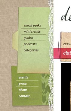 web design - navigation; good touch on a cooking/possible fashion blog. try to design away from the tabs/kitchy patterns