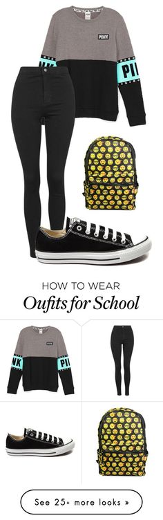 """#OOTD and Best Day Of School Ever. (Description)"" by wweajfan4life on Polyvore featuring Topshop, Converse, women's clothing, women, female, woman, misses and juniors"
