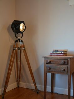 Tripod Floor Lamp  Stage Spotlight - by HandmadeLights on Etsy, Wooden Tripod, Floor Standing, Photography, Vintage Theater Spotlight, Industrial, Steampunk, , Tripod Lamp