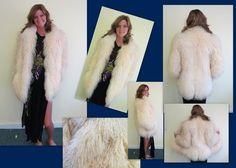 VTG Shaggy MONGOLIAN CURLY LAMB WHITE Yeti Fur Tibetan SZ S-M Jacket Coat BOHO