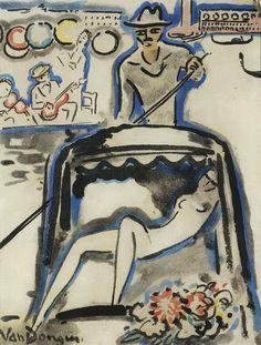 kundst:  Kees van Dongen (NL 1877-1968)Gondola (1925)(litho on paper 32 x 35.5 cm)