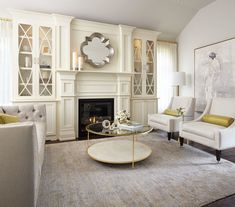 Modern Neutral Living Room with Gold Accents - Contemporary - Living Room - Toronto - by Sarah St. Amand Interior Design, Inc. Living Room With Fireplace, My Living Room, Living Room Decor, Modern Contemporary Living Room, Contemporary Interior, Contemporary Building, Contemporary Apartment, Contemporary Chandelier, Contemporary Landscape