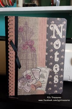 Altered Composition BookSeamstress by pklimper on Etsy, $7.50