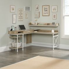 Oakside L-Shape Executive Desk with Hutch – Home office design layout Home Office Space, Home Office Design, Home Office Decor, Home Design, Home Decor, Office Ideas, Office Designs, Desk Ideas, Corner Office Desk