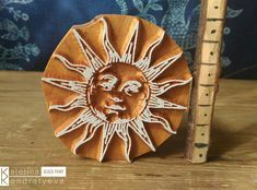 Wooden Printing Block Carved Stamp Sun with Face. Scrapbooking, Leather, Pottery, Ceramic, Textile Fabric Blocks. Solar Ethnic Slavic Pagan