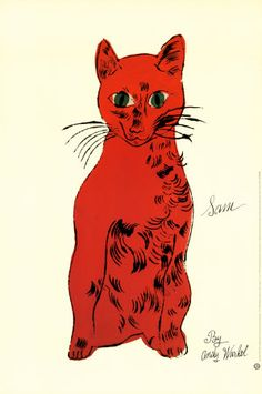 Red Cat from Twenty-Five Cats - Andy Warhol - Touring Exhibit, Knoxville, Tennessee - 2001 Andy Warhol Pop Art, Andy Warhol Prints, Pittsburgh, Cat Art Print, Cat Posters, Red Cat, Art Moderne, Renaissance Art, Cat Lady