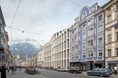 Innsbruck Ute Zscharnt for David Chipperfield Architects Innsbruck, David Chipperfield Architects, Stone Facade, Department Store, Art And Architecture, Germany, Street View, Offices, Facades