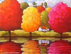 Autumn River 5x7 Print, Fall Folk Art Landscape Waterside Trees, Cottage Water Reflections Wall Artw