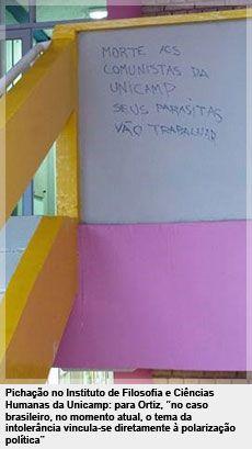 """Pichação no Instituto de Filosofia e Ciências Humanas da Unicamp: para Ortiz, """"no caso brasileiro, no momento atual, o tema da intolerância vincula-se diretamente à polarização política"""""""