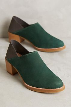 Anthropologie All Black Colorblock Fold-Back Booties