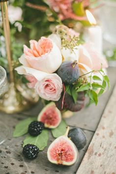 Figs & Gold Wedding Inspiration - - Don't get me wrong, I love a good pastel wedding. But I also have a big ol' place in my heart for those dark, romantic hues that seem to be quietly on the rise. I'm talking hues li. Wedding Table Centerpieces, Wedding Flower Arrangements, Floral Arrangements, Wedding Flowers, Wedding Decorations, Wedding Tables, Autumn Centerpieces, Centerpiece Flowers, Centerpiece Ideas