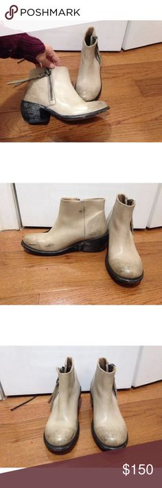 Fluevog Ankle Boots! Distressed tan ankle boots from John Fluevog. Worn only twice. Real leather, amazing quality. Free People Shoes Ankle Boots & Booties