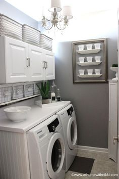 Bigger Laundry Room Or Bigger Closet Laundry room organization Small laundry room ideas Laundry room signs Laundry room makeover Farmhouse laundry room Diy laundry room ideas Window Front Loaders Water Heater Laundry Room Remodel, Laundry Room Cabinets, Laundry Closet, Laundry Room Organization, Diy Cabinets, Basement Laundry, Laundry Room Counter, Laundry Shelves, Garage Laundry