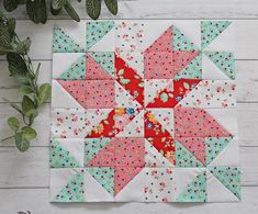Breeze is a fun and easy quilt block pattern using gorgeous floral fabrics in our favorite spring hues.Spring Breeze is a fun and easy quilt block pattern using gorgeous floral fabrics in our favorite spring hues. Star Quilt Blocks, Star Quilts, Easy Quilts, Mini Quilts, Scrappy Quilts, Bed Quilts, Quilt Patterns Free, Pattern Blocks, Quilt Block Patterns 12 Inch
