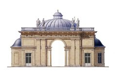 Andrew Zega and Bernd H. Dams | Watercolor of the Aurora Pavilion at Sceaux