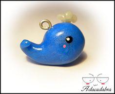 Kawaii Whale Charm - Handmade Polymer Clay. €4.00, via Etsy.