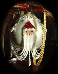 Santa Sweep Christmas Ornament Cover : Beading Patterns and kits by Dragon!, The art of beading. (If you would like to see this item on our website, click on the picture). $17.95
