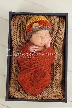 Newborn Boys Crochet Fall Beanie with Wood by KerensHatBoxBoutique, $21.00