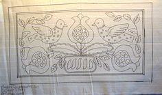 """Birds & Pomegranates"" Rug Hooking Pattern. Barbara Carroll of Woolley Fox has created a wonderful rug hooking pattern adapted from the art work of Edyth O'Neill."