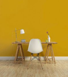 1825 mustard yellow paint in an office - Gelb Mustard Yellow Paints, Yellow Interior, Interior Decorating, Interior Design, Aesthetic Room Decor, Yellow Painting, Home Trends, New Room, Wall Colors