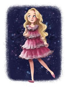 For all the Harry Potter fans here is a Luna Lovegood in her Yule ball dress! Prints on Archival Paper ( Colors may slightly vary on prints ) Watermark will be removed and prints will be hand signed! Harry Potter Drawings, Harry Potter Pictures, Harry Potter Fan Art, Harry Potter Characters, Harry Potter Universal, Harry Potter World, Luna Lovegood, Harry Potter Marathon, Harry Potter Wallpaper