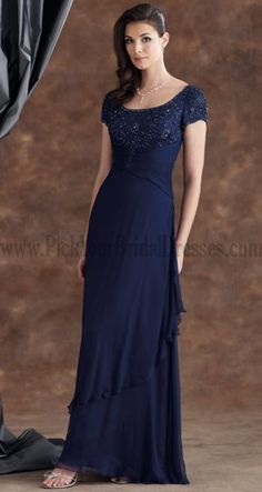 Simple Mother Of The Groom Dresses Dark Navy Fuchsia Column Sheath Short Sleeve Cascading Ruffle Beading Online Wedding Party Dresses