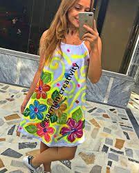Imagen relacionada Ideas Para Fiestas, Fabric Painting, Diana, Lily, Summer Dresses, Victoria, Diy And Crafts, Outfits, Irene