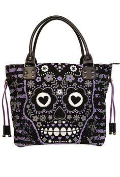 Banned Purple Sugar Skull Bag