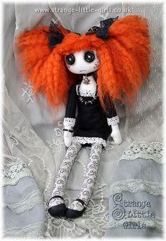 15 inch OOAK Gothic cloth art doll with button eyes by StrangeLittleGirlsUK