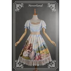 Sweet Lolita Oil Painting Printed Double Layered Sleeves OP Dress - The Song Of The Lark by Souffle Song $140 AUD Size L