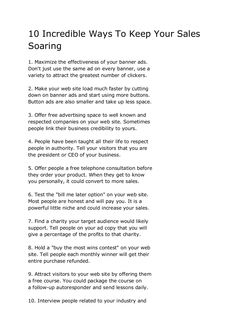 10-incredible-ways-to-keep-your-sales-soaring by Sander van Dijk via Slideshare