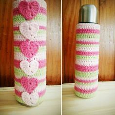 Termo con funda tejida a crochet! Crochet Gifts, Diy Crochet, Crochet Baby, Plant Covers, Crochet Humor, Crochet Kitchen, Sewing Crafts, Needlework, Free Pattern