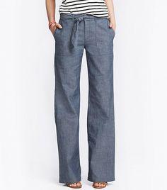 Banana Republic Chambray Tie-Front Wide-Leg Pants ($80)