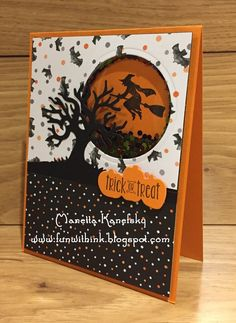I saved the best for last! This card was my favorite card we made that day. It is a Halloween shaker card. To make the circle area that...