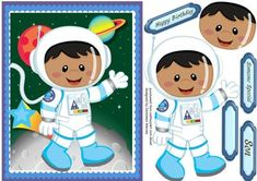 A lovely card to make and give to any  boy on his Birthday with a lovely Ethnic space Cadet  has three greeting tags and a blank one for you to choose the sentiment,