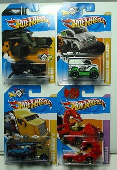 HOT WHEELS LOT OF 4 2012 NEW MODELS  2012 VHTF  ADD THESE TO YOUR COLLECTION  1) 2012 NEW MODELS HIWAY HAULER 2 45/247  2) 2012 NEW MODELS MONSTER DAIRY DELIVERY 28/247  3) 2012 NEW MODELS THE BAT 27/247  4) 2012 YEAR OF THE DRAGON RODZILLA  THESE CARS ARE IN THEIR ORIGINAL PACKAGING AND AS YOU CAN SEE BY THE PHOTOS ARE IN EXCELLENT CONDITION, $25.88