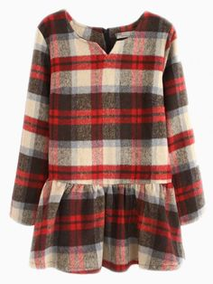 Plaid Woolen Peplum Top In Red - Choies.com