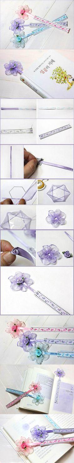 DIY Beautiful Ribbon Flower Bookmarks 2