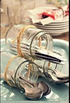 Decoration tip for the cutlery when you go out and . - # if Decoratie tip voor het bestek als je buiten gaat e… – Decoration tip for the cutlery when you go out and … – # cutlery going - tisch Deco Buffet, Dining Buffet, Deco Champetre, Wedding Decorations, Table Decorations, Centerpieces, Tablescapes, Party Planning, Party Time