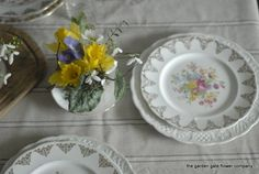 Soft vintage inspired wedding table arrangements