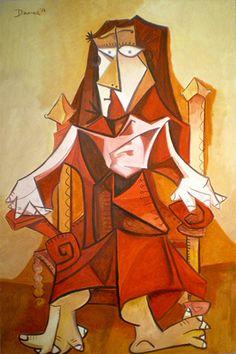 Mujer de vestido rojo sobre silla Óleo sobre lienzo. 72x112 cms. Año 2014.