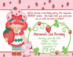 Deb's Party Designs - Strawberry Sweet Birthday Invite, $1.00 (http://www.debspartydesigns.com/strawberry-sweet-birthday-invite/)
