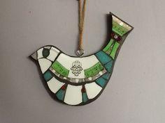 LorraineUdellMosaics Mosaic bird with button eye